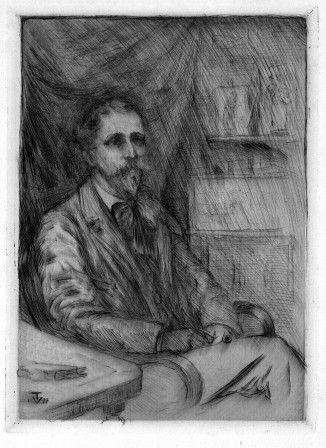 An etched portrait of A. Sanborn, by V. Trowbridge, ab. 1901.