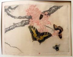 estampe avec un papillon