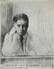 autoportrait de l'artiste, à l'eau-forte